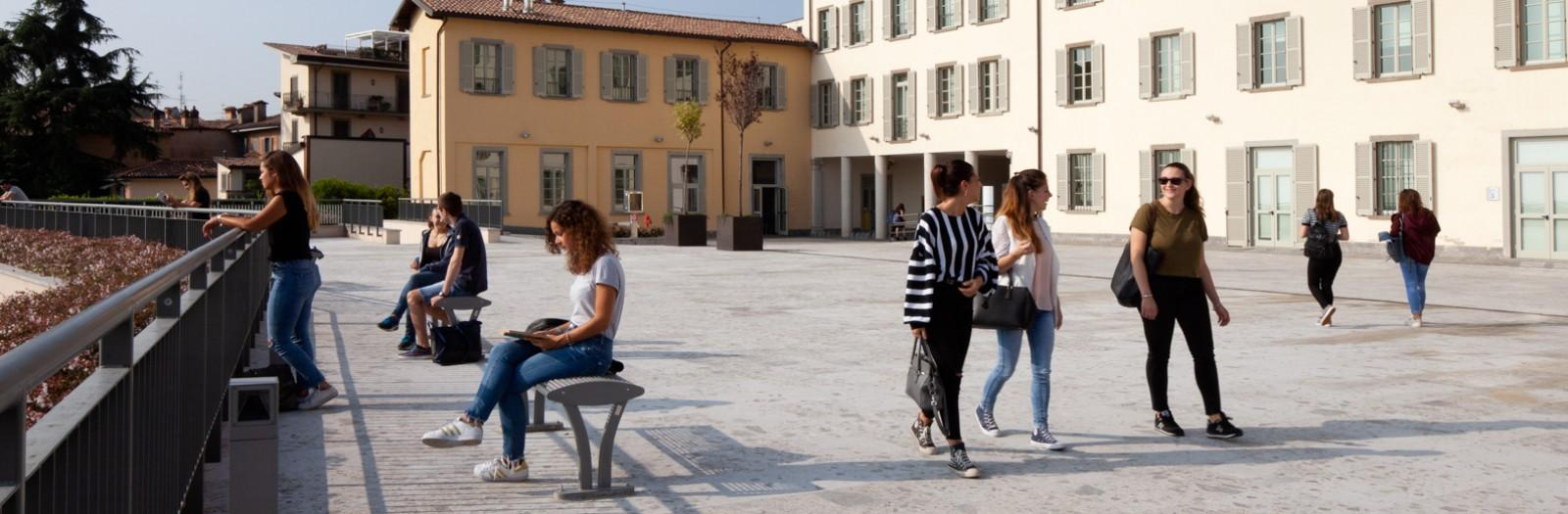 Students at Pignolo's roof