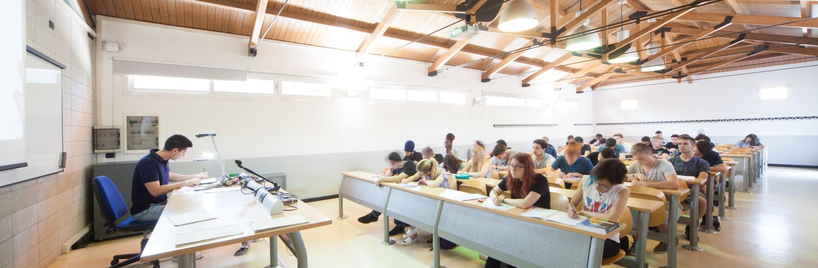 Students attending class in Dalmine