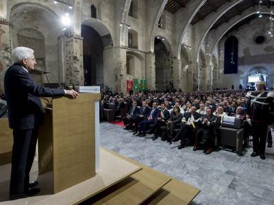 Intervento fuori programma del Presidente della Repubblica Sergio Mattarella durante la Cerimonia di Inaugurazione dell'a.a. 2016-17