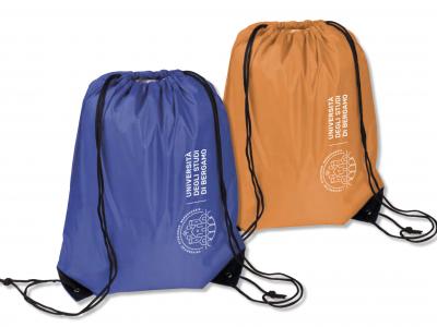 nylon backsack (blue and orange) € 2,20